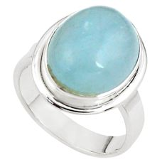 925 silver 8.70cts natural blue aquamarine solitaire ring jewelry size 8 p78317