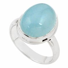 925 silver 7.78cts natural blue aquamarine solitaire ring jewelry size 8 p78338