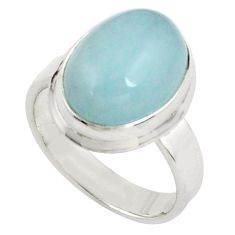 925 silver 7.78cts natural blue aquamarine solitaire ring size 7.5 p77795