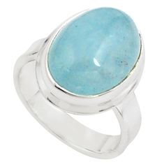 925 silver 8.14cts natural blue aquamarine solitaire ring size 6.5 p78348