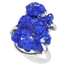 925 silver 33.26cts natural blue azurite druzy solitaire ring size 7 p63418