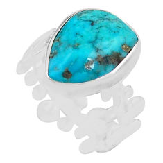 925 silver 7.24cts natural blue campitos turquoise solitaire ring size 9 p80340