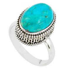 925 silver 6.53cts natural blue chrysocolla oval solitaire ring size 8.5 p56607