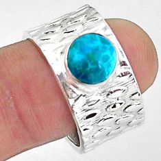 925 silver 3.41cts natural blue chrysocolla round adjustable ring size 8 p57207