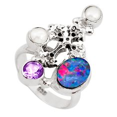 925 silver 5.18cts natural blue doublet opal australian cross ring size 7 p49980