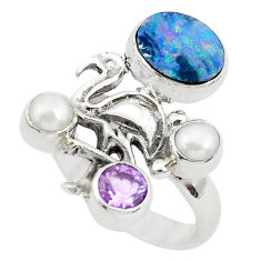925 silver natural blue doublet opal australian flamingo bird ring size 7 p49967