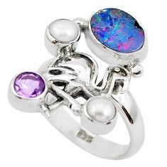 925 silver natural blue doublet opal australian flamingo ring size 8 p50038