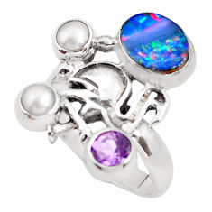 925 silver natural blue doublet opal australian flamingo ring size 8.5 p54090