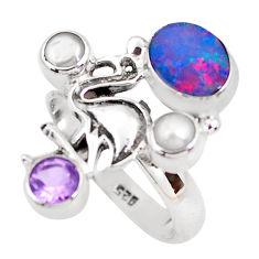 925 silver natural blue doublet opal australian flamingo ring size 8.5 p54091