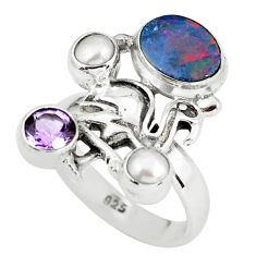 925 silver natural blue doublet opal australian flamingo ring size 7.5 p60285