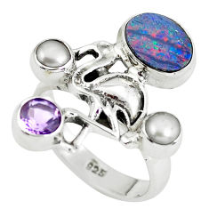 925 silver natural blue doublet opal australian flamingo ring size 7.5 p60292