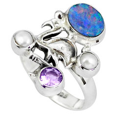 925 silver natural blue doublet opal australian flamingo ring size 8.5 p60297