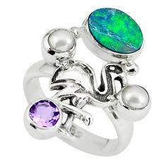 925 silver natural blue doublet opal australian flamingo ring size 8 p60309