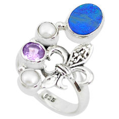 925 silver 5.01cts natural blue doublet opal australian pearl ring size 8 p50025
