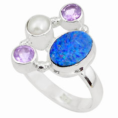 925 silver 5.16cts natural blue doublet opal australian pearl ring size 8 p52564
