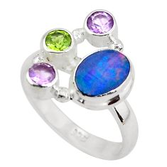 925 silver 5.52cts natural blue doublet opal australian ring size 8.5 p52571