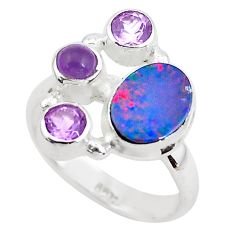 925 silver 5.53cts natural blue doublet opal australian ring size 7 p52577