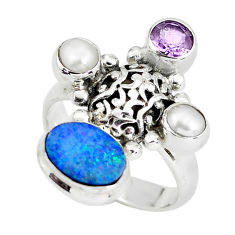 925 silver 5.62cts natural blue doublet opal australian ring size 7.5 p60291