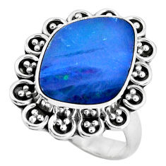 925 silver natural blue doublet opal australian solitaire ring size 7 p47470