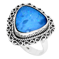 925 silver natural blue doublet opal australian solitaire ring size 7.5 p47474