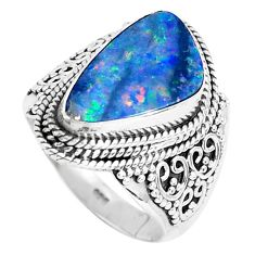 925 silver natural blue doublet opal australian solitaire ring size 8 p47484