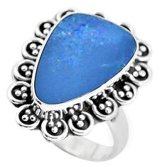 925 silver natural blue doublet opal australian solitaire ring size 8 p47488