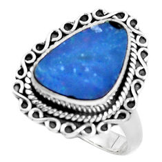 925 silver natural blue doublet opal australian solitaire ring size 8 p47493