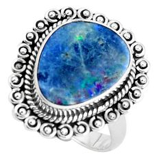 925 silver natural blue doublet opal australian solitaire ring size 8.5 p47496