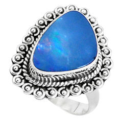 925 silver natural blue doublet opal australian solitaire ring size 7.5 p47499