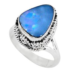 925 silver natural blue doublet opal australian solitaire ring size 6.5 p56718