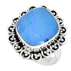 925 silver natural blue doublet opal australian solitaire ring size 6.5 p60264