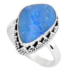925 silver natural blue doublet opal australian solitaire ring size 8.5 p61364