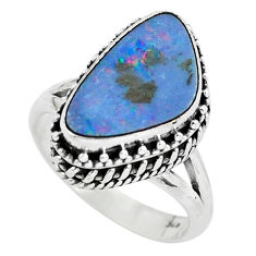 925 silver natural blue doublet opal australian solitaire ring size 6.5 p61371