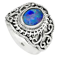 925 silver natural blue doublet opal australian solitaire ring size 7.5 p81000
