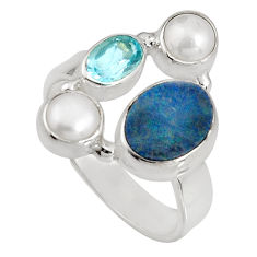 925 silver 5.87cts natural blue doublet opal australian topaz ring size 8 p90743