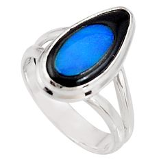 925 silver 7.36cts natural blue doublet opal in onyx 14k gold ring size 8 p92737