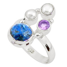 925 silver 5.79cts natural blue dumortierite amethyst pearl ring size 8 p52617