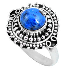 925 silver 3.19cts natural blue dumortierite solitaire ring size 7.5 p63313