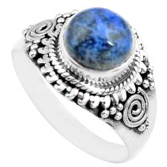 925 silver 3.19cts natural blue dumortierite solitaire ring size 8 p71679