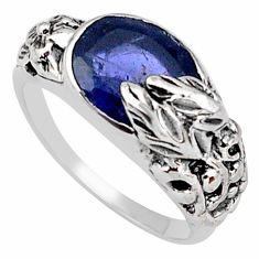 925 silver 4.21cts natural blue iolite solitaire flower ring size 7.5 p81640