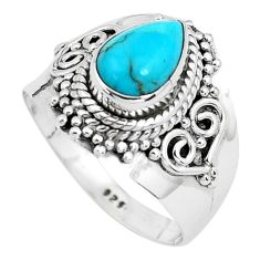 925 silver 2.98cts natural blue kingman turquoise solitaire ring size 7.5 p40324