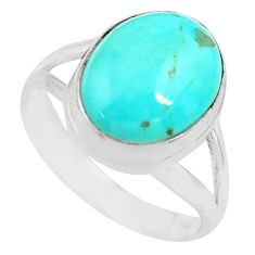 925 silver 5.36cts natural blue kingman turquoise solitaire ring size 8 p71337
