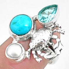 925 silver 7.51cts natural blue kingman turquoise topaz crab ring size 7 p42870