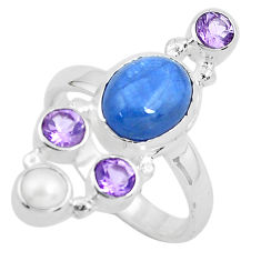 925 silver 8.42cts natural blue kyanite amethyst pearl ring size 8.5 p52476