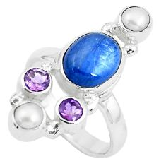 925 silver 8.14cts natural blue kyanite amethyst pearl ring size 7.5 p52479