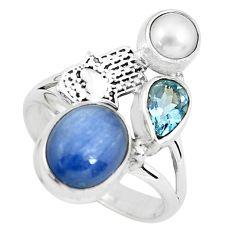 925 silver 6.89cts natural blue kyanite hand of god hamsa ring size 8.5 p61084
