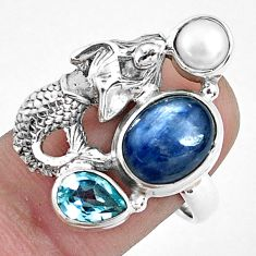 925 silver 8.10cts natural blue kyanite topaz fairy mermaid ring size 8 p42644