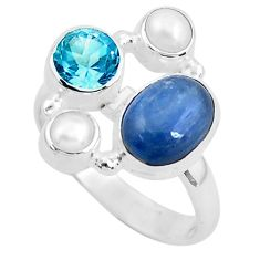 925 silver 6.89cts natural blue kyanite topaz pearl ring jewelry size 7.5 p52467