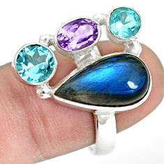 925 silver 11.37cts natural blue labradorite amethyst topaz ring size 8 p32840