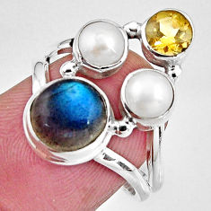 925 silver 8.05cts natural blue labradorite citrine pearl ring size 7 p90624